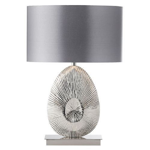 Polished nickel plate & warm grey faux satin fabric Tablelamp BXEH-SIMETO-TL-17  (Double Insulated)
